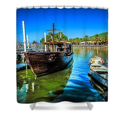 Boats At Kibbutz On Sea Galilee Shower Curtain