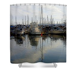 Shower Curtain featuring the photograph Boats At Marina On Liberty Bay by Greg Reed