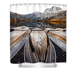 Boats At Mountain Lake In Autumn Fine Art Photograph Print Shower Curtain by Jerry Cowart