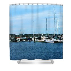 Shower Curtain featuring the photograph Boats At Newport Ri by Susan Savad