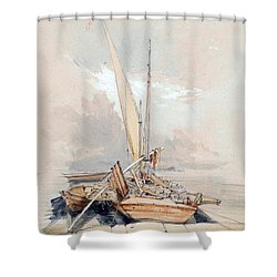 Boats At Quayside Lake Geneva Shower Curtain by James Holland