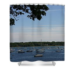 Shower Curtain featuring the photograph Boats At Rest by Denyse Duhaime