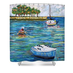 Boats At St Petersburg Shower Curtain