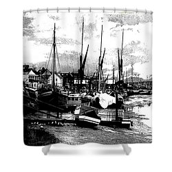 Shower Curtain featuring the digital art Boats At Sundown  by Fine Art By Andrew David