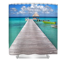 Boats At The Jetty In A Tropical Turquoise Lagoon Shower Curtain