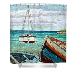 Boats By The Bay Shower Curtain