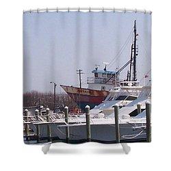 Boats Docked Shower Curtain by Pharris Art