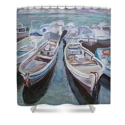 Boats Shower Curtain by Elena Sokolova