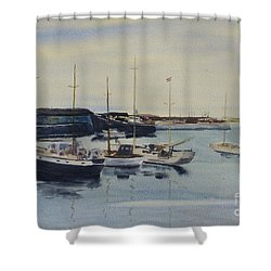 Boats In A Harbour Shower Curtain by Martin Howard