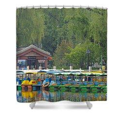Boats In A Park, Beijing Shower Curtain by John Shaw