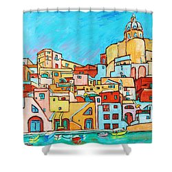 Boats In Front Of The Buildings Vii Shower Curtain by Xueling Zou