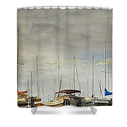 Shower Curtain featuring the photograph Boats In Harbor Reflection by Peter v Quenter