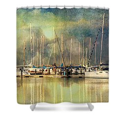 Boats In Harbour Shower Curtain