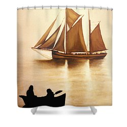 Shower Curtain featuring the painting Boats In Sun Light by Janice Dunbar