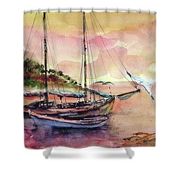Shower Curtain featuring the painting Boats In Sunset  by Faruk Koksal