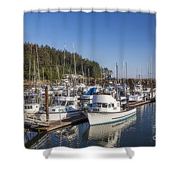 Boats Moored At Charleston Marina Shower Curtain