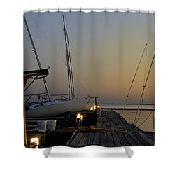 Boats Moored To Pier At Sunset Shower Curtain by Charles Beeler