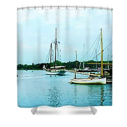 Boats On A Calm Sea Shower Curtain by Susan Savad