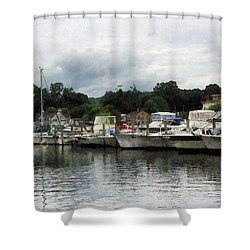 Shower Curtain featuring the photograph Boats On A Cloudy Day Essex Ct by Susan Savad
