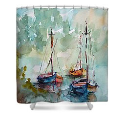 Shower Curtain featuring the painting Boats On Lake  by Faruk Koksal