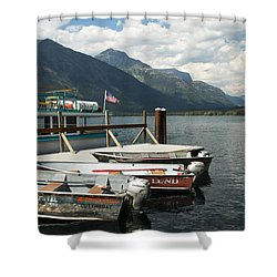 Boats On Lake Mcdonald Shower Curtain by Nina Prommer