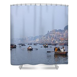 Boats On The River Ganges At Varanasi In India Shower Curtain by Robert Preston