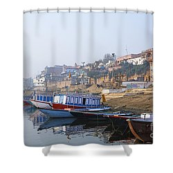 Boats On The River Ganges Varanasi Shower Curtain by Robert Preston