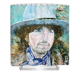 Bob Dylan Oil Portrait Shower Curtain by Fabrizio Cassetta