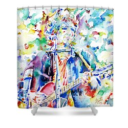 Bob Dylan Playing The Guitar - Watercolor Portrait.1 Shower Curtain by Fabrizio Cassetta