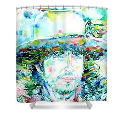 Bob Dylan - Watercolor Portrait.2 Shower Curtain by Fabrizio Cassetta