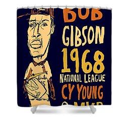 Bob Gibson St Louis Cardinals Shower Curtain by Jay Perkins