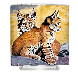 Shower Curtain featuring the painting Bob Kittens by Phyllis Kaltenbach