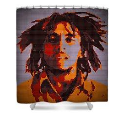 Bob Marley Lego Pop Art Digital Painting Shower Curtain by Georgeta Blanaru