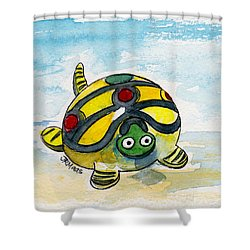 Bobblehead Turtle Shower Curtain by Julie Maas