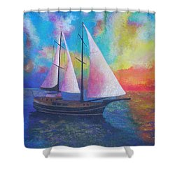 Shower Curtain featuring the painting Bodrum Gulet Cruise by Tracey Harrington-Simpson