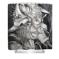 Shower Curtain featuring the drawing Bogomils Duckhunting Mask by Otto Rapp