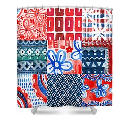 Boho Americana- Patchwork Painting Shower Curtain by Linda Woods