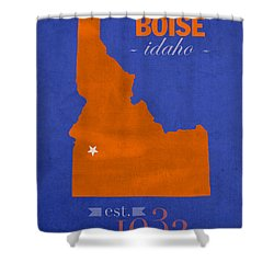 Boise State University Broncos Boise Idaho College Town State Map Poster Series No 019 Shower Curtain by Design Turnpike