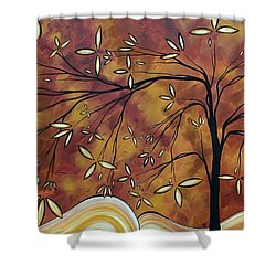 Bold Neutral Tones Abstract Landscape Art Oversized Original Painting The Wishing Tree By Madart Shower Curtain by Megan Duncanson