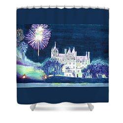Boldt Castle Fireworks Shower Curtain by Robert P Hedden