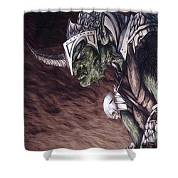 Shower Curtain featuring the mixed media Bolg The Goblin King 2 by Curtiss Shaffer
