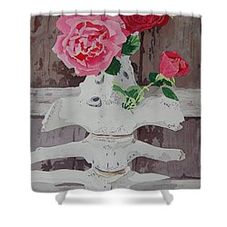 Bones And Roses Shower Curtain