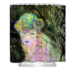 Shower Curtain featuring the mixed media Bonnie Blue by Kim Prowse
