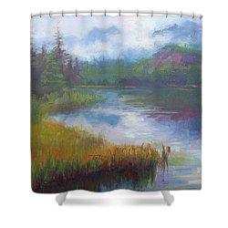 Bonnie Lake - Alaska Misty Landscape Shower Curtain