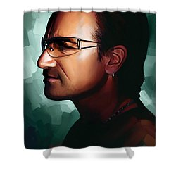 Bono U2 Artwork 1 Shower Curtain by Sheraz A