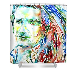 Bono Watercolor Portrait.2 Shower Curtain by Fabrizio Cassetta