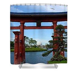 Shower Curtain featuring the photograph Bonsai Pavillion by David Nicholls