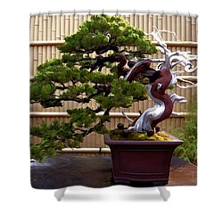 Bonsai Tree And Bamboo Fence Shower Curtain by Elaine Plesser