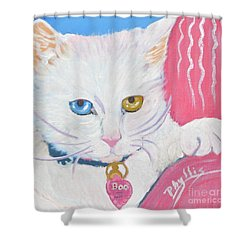 Shower Curtain featuring the painting Boo Kitty by Phyllis Kaltenbach