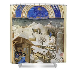Book Of Hours: February Shower Curtain by Granger